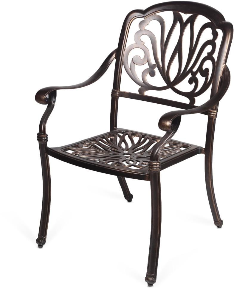 кресло обеденное серии Fenix феникс бронзового цвета из литого алюминия